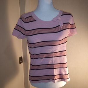 Emma James Striped Beaded Short Sleeve Shirt